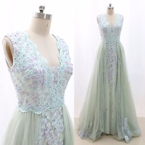 V Neck Lace Prom Gown Mint Formal Evening Gown